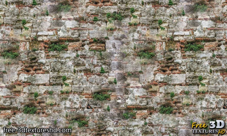 Old brick wall with grass download seamless free texture high resolution 4k