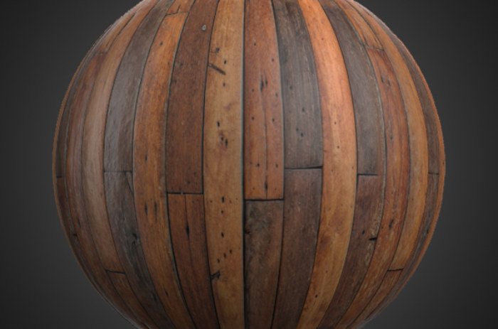 Brown wood plank texture BPR material free download