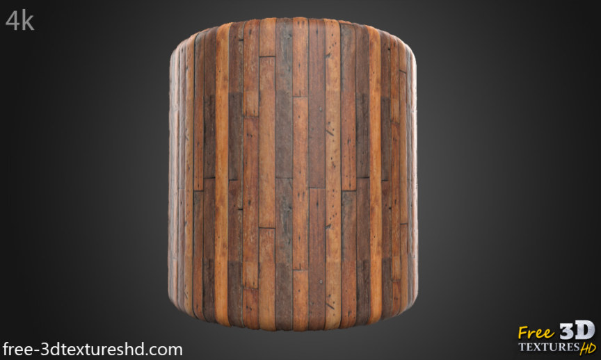 Brown wood plank texture BPR material free download preview