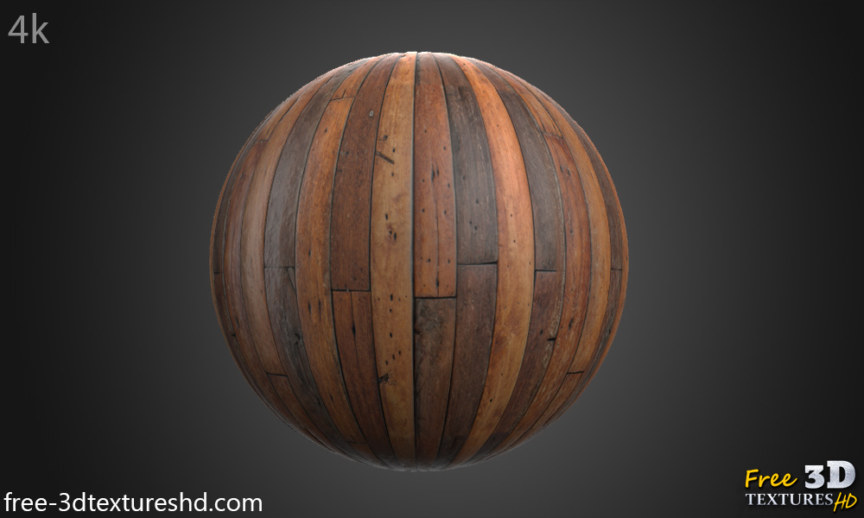 Brown wood plank texture BPR material free download preview sphere