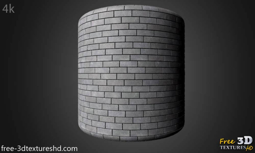 Grey Brick Wall Construction 3d Texture Free seamless HD 4k