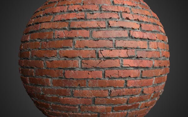 old brick wall 3d texture with cement