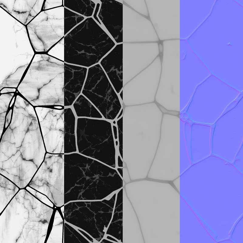 Free download texture of white marble floor mosaic curves and broken tiles BPR seamless HD 4k