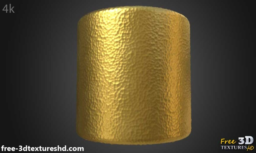 Gold-hammered-Textures-Seamless-natural-BPR-material-High-Resolution-Free-Download-HD-4k-preview-render-cylindre