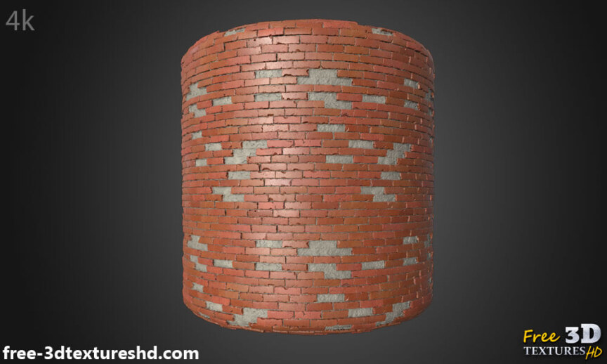 Old-Brick-wall-with-unstack-bricks-textures-free-download-background-BPR-material-high-resolution-HD-4k-cylindre-render